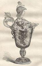A5588 Brocca attribuita a Benvenuto Cellini - Xilografia del 1850 - Engraving