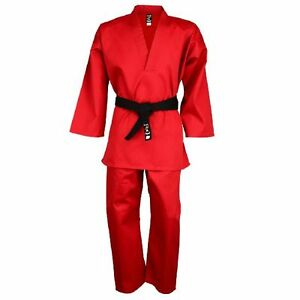 Playwell Instructors V Neck Uniform Red Childrens Kids Gi Suits Freestyle Outfit