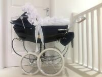 🎀SILVER CROSS COACHBUILT DOLL DIAMANTÉ PRAMSET HOOD FRILL🎀PRAM NOT INCLUDED