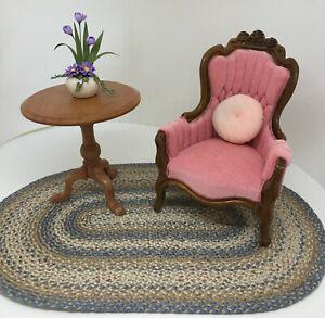 **Leonetta Miniature Dollhouse Victorian Chair~Pink Velveteen~!* 1:12