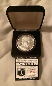CAL RIPKEN JR. Baltimore Orioles 1 TROY OZ .999 FINE SILVER COIN W/ COA & CASE