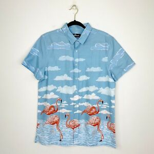 Revival Dangerfield Mens Flamingo Shirt Rockabilly Short Sleeve Size L