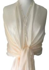 Cream Pashmina Silk Blend Wrap Ladies Faux Pearl Trim Shawl Scarf Wedding Prom
