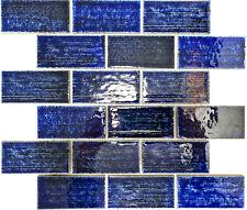 Keramikmosaik Mosaikfliesen Verbundoptik Blau Wandverkleidung | 10 Mosaikmatten