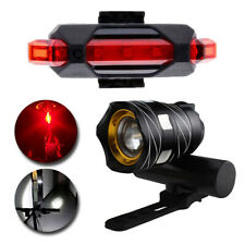 USB Rechargeable LED Cycling MTB Bicycle Light Front Headlight &Rear Tail Lights