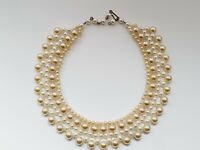 "Unique Vintage 15.5"" Faux Pearl Cluster Necklace Choker"