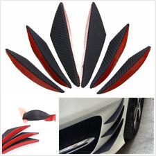 6 Pcs Black Carbon Fiber Color Car Front Bumper Fins Spoiler Refit Splitter Trim