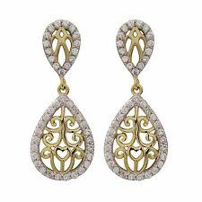 Two Tone Gold Plated Sterling Silver CZ Teardrop Womens Dangle Earrings
