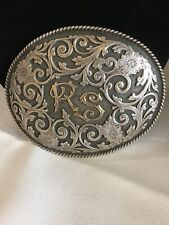 Large Sterling Silver Floral Overlay W/ 14k RS Initials Western Belt Buckle