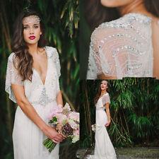 Sequin Boho Wedding Dress Chiffon Open Back Wedding Dress White Ivory 6 8 10 12+