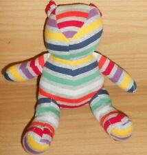 "7""  Baby GAP Striped Rainbow Multi Colored Teddy Bear Plush Stuffed Animal"
