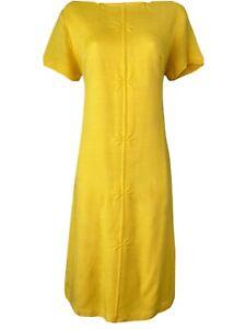 Vintage 1960s 70s Flower Daisy Mod Gogo Yellow Shift Summer Dress