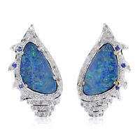 Fine 18k Gold Sapphire Australian Opal Stud Earrings Silver Diamond Pave Jewelry