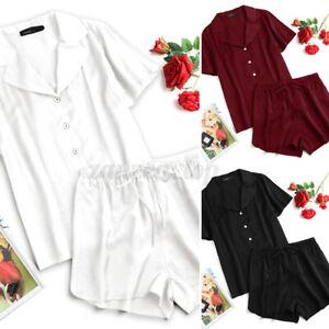 New Womens SATIN Pyjamas Set Button Up Ladies PJ Set Lounge Sleep Wear Size 8-26