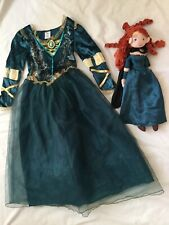 Disney Store Princess Merida Costume Dress Gown Girls 9-10 EUC Doll