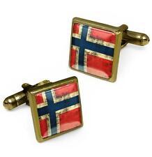 Antique Bronze Norway Scandinavian Cross Norwegian Flag Glass Cufflink Set w/Box