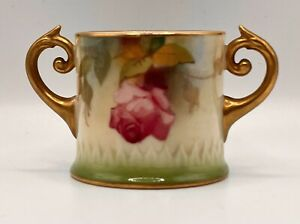 Antique Royal Worcester Twin Scroll Handle Hadley Roses Pot Made 1924
