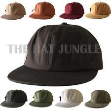 Plain Unstructured Dad Hat Adjustable Buckle Strapback Cap Flat Bill Low Profile