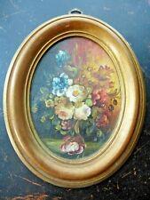 Vintage MINIATURE OIL PAINTING Floral Still Life Original Oval Frame