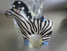 Vintage Ceramic Zebra Statue with Bird Signed