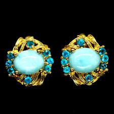 NATURAL BLUE LARIMAR & APATITE EARRINGS 925 SILVER STERLING
