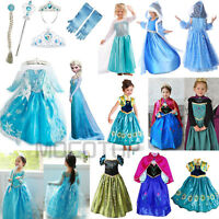 Kids Girls' Dresses Elsa Frozen Dress Costume Princess Anna Birthday Party Dress