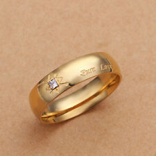 Band Ring Size 8 B97 Stainless Steel Gold Tone Gold Zirconia