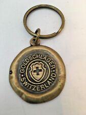 """Vintage Brass Goldschlager Switzerland Key Chain  -  1-1/4"""" Diameter"""