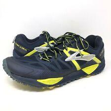 Brooks Cascadia 10 Blue Yellow Athletic Running Shoes Mens Size 11.5 Medium