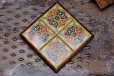 Beautiful Vintage Mexican/Moroccan Star TILE TRIVET Solid Wood Base