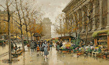 Eugene Galien Laloue  Flower market  France French Wall Art  Canvas