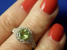 Sterling Silver 1.51ct Round Faceted Peridot Filigree Ring Free Sizing