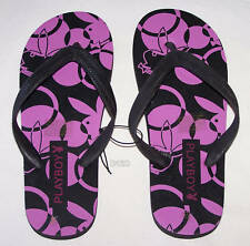 Playboy Logo Ladies Black Printed Thongs Size 8 New