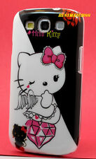 FOR SAMSUNG GALAXY S3 PHONE hello kitty kitten CASE BLACK WHITE PINK S iii //