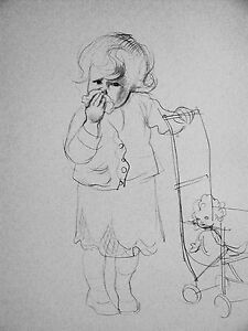 J.H. Dowd LITTLE GIRL Crying and Pushing DOLL CARRIAGE 1938 Vintage Print Matted