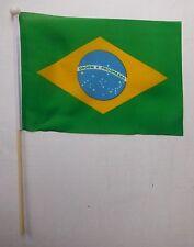 "Brazil Handwaving Flag  9"" x 6"" Polyester Flag 12"" Wooden Pole 2014 World Cup"