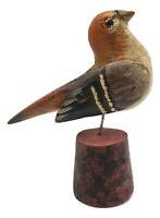 HAND CARVED FINCH BIRD Vintage Pennsylvania Dutch USA Wood Folk Art - Ben Hoover