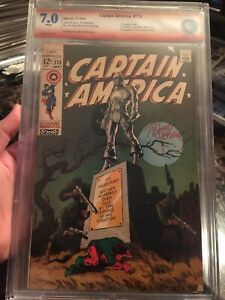 Captain America #113 CBCS 7.0 SS WHITE (Like CGC) Signed by Jim Steranko CLASSIC