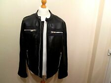 PETER WERTH Mens black REAL LEATHER biker style jacket size XL