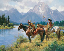 Home Decor  Art Canvas Print, Oil Painting Indians, Signs Along The River16