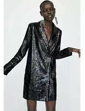 Zara AW18 Sequin Black Blazer Dress Mini Wrap Style  Bloggers Size S