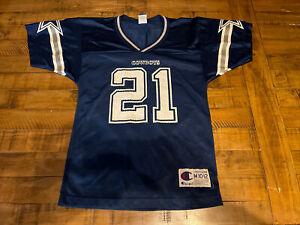 Vintage Logo Champion Dallas Cowboys #21 Deion Sanders Jersey Youth Med 10-12
