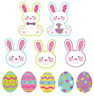 10 MINI EASTER GLITTER CUTOUTS BUNNY RABBIT EGGS PARTY TABLE SCATTERS DECORATION