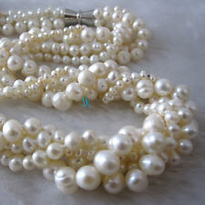 "20"" 3-8mm White 5Row Freshwater Pearl Necklace Strand Jewelry"