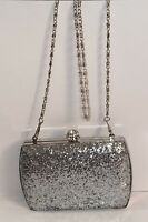 New harve benard EVENING Clutch  Sparkles  Silver With Chain Strap Crossbody Bag