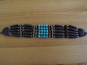 Buffalo Bone Choker Leather Turquoise Beaded Stone Native American Necklace