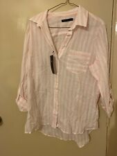 M&S Womens Collection Pure Cotton Striped Long Sleeve Shirt, Size UK14