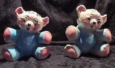 VINTAGE 1950s Ceramic Teddy Bear Night Light & Planter Set - Nursery Pink & Blue