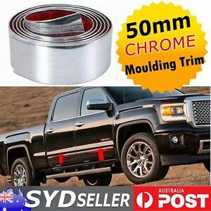 Chrome Mouldings 50mm Wide Car Bumper Threshold Door Bottom Protect Trim x 2.5M