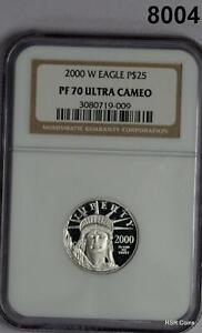 2000 W PLATINUM $25 EAGLE NGC CERTIFIED PF70 ULTRA CAMEO! WOW! #8004